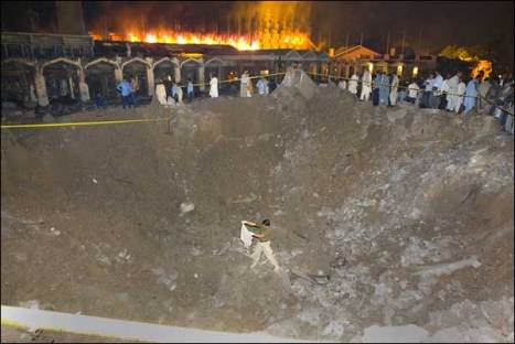 Crater caused by Marriot Suicide Attack's Truck Bomb