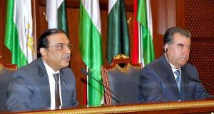 President Asif Zardari and Tajik President Emomali Rakhmon (right) agreed to initiate a strategic dialogue on regional peace, security and development and cooperation in the energy sector